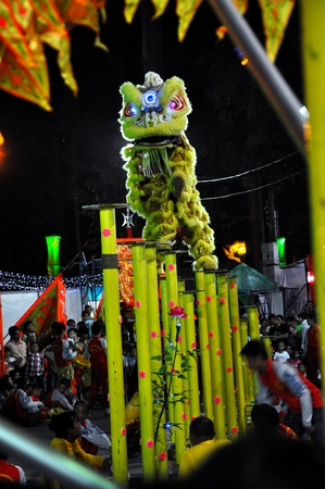 Traditional Vietnamese dragon dance during the Tet Lunar New Year Festival, in Ho Chi Minh city, Vietnam