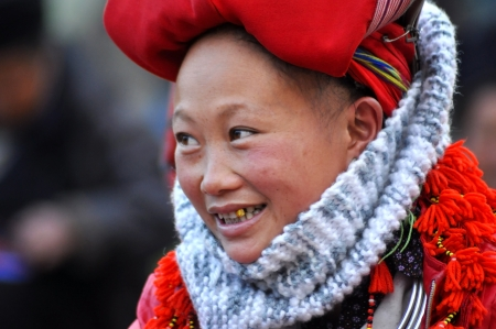 Red Dao ethnic minority woman with turban in Sapa, Vietnam