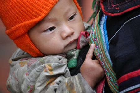 papoose: A Black Hmong Vietnamese woman carrying her child, Sapa, Vietnam Editorial