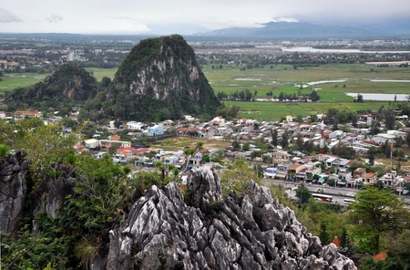 Uitzicht vanaf de marmeren bergen, Da Nang, Vietnam Stockfoto