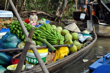 rang: Boat sellers at Can Tho floating market, Mekong Delta, Vietnam Editorial