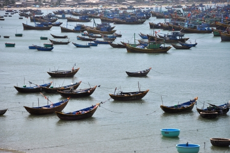 Fishing boats anchored off the coast of Mui Ne village, Vietnam