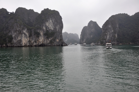 Limestone islands in the sea, Halong Bay, Vietnam  photo