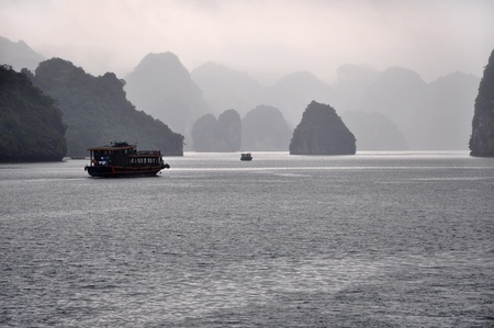 Ships sailing in Halong Bay, Vietnam  photo