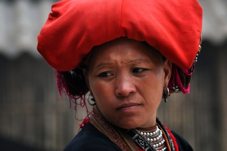 Sapa, Vietnam, Feb. 24, 2013 - Red Dao ethnic minority woman with turban in Sapa, Vietnam