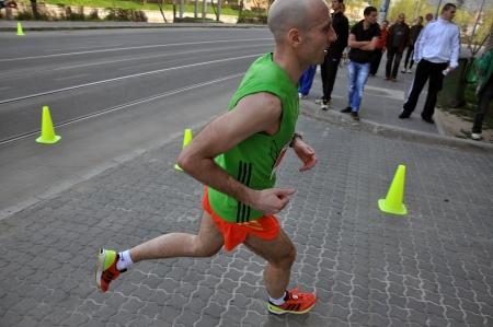 napoca: April 21, 2013 - Cluj Napoca, Romania: Participants running at the Cluj International Marathon