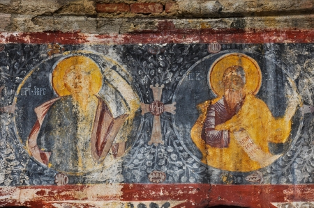 Orthodox painted murals, fresco on a church photo