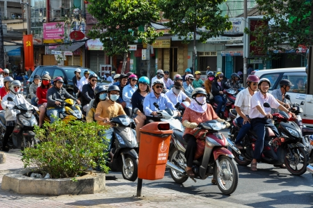 congested: HO CHI MINH - FEB15: Chaotic road traffic in Saigon, Vietnam. In the biggest city in Southern Vietnam are more than 4 mil. motorbikes, the traffic is often congested. Feb 15, 2013, Saigon, Vietnam
