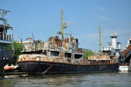 danube delta: SULINA - JUNE 23: Old ship standing in Sulina port, one of the most important ports in Europe. After Paris Treaty in Sulina was established the Danube European Commission.On June 23 in Sulina, Romania