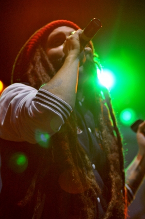 CLUJ-NAPOCA - JULY 18  Artist Alborosie from Jamaica performs live on the stage at the Peninsula   Felsziget Music Festival  On July 18, 2013 in Cluj Napoca, Romania