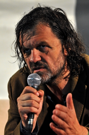 CLUJ - JULY 19  Emir Kusturica movie director and musician from Serbia answering questions during the press conference Peninsula   Felsziget Music Festival  On July 19, 2013 in Cluj Napoca, Romania