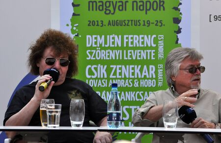 CLUJ - AUG 23  The legendary composers and musicians Szorenyi Levente  R  and Demjen Ferenc  L  from Hungary during a press conference at the Hungarian Days of Cluj  August 23, 2013 in Cluj, Romania