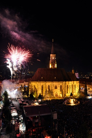 CLUJ - AUG 25  Fireworks at the end of the Hungarian Cultural Days of the City, on the Main Square of Cluj in front of almost 50 000 fans  View from above  Aug 25, 2013 in Cluj, Romania