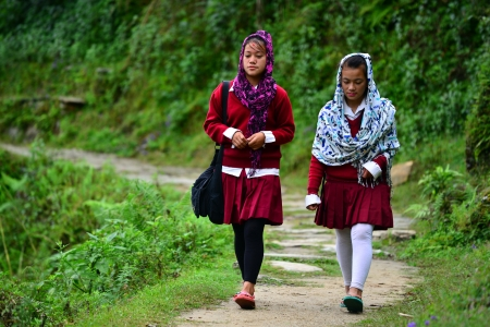 GHANDRUK - OCT 1  School girls going in the school early in the morning  In the Himalayas, they have to walk between 5 and 6 miles in the mountains each day to reach their school  On Oct 1, 2013 in GHANDRUK, Nepal
