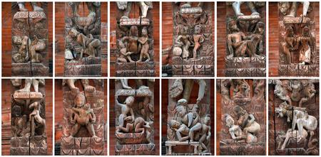 Collection of erotic carvings on a Hindu temple  Kathmandu, Nepal photo