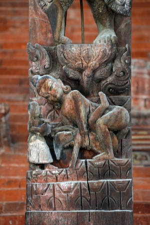 Erotic carving on a temple in Patan, Kathmandu, Nepal photo