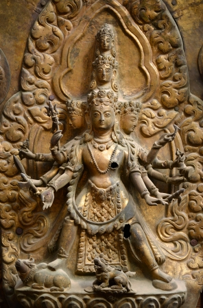 Brazen relief, sculpture of Shiva the destroyer in Patan s Durbar square  Kathmandu, Nepal Imagens