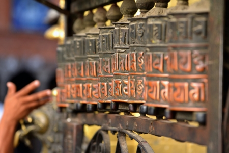 dalai: Prayer wheels Stock Photo