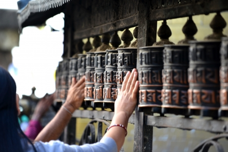 Prayer wheels Standard-Bild