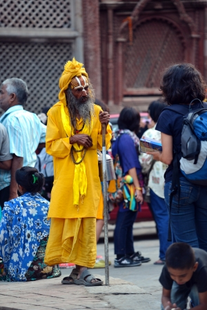 KATHMANDU, NEPAL � OCTOBER 8  Holy Sadhu man with dreadlocks and traditional painted face at Pashupatinath Temple  On October 8, 2013 in Kathmandu, Nepal