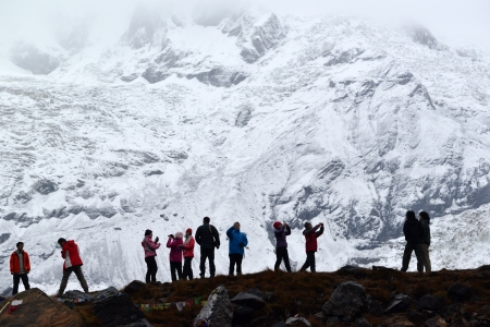sherpa: ANNAPURNA - OCT 3  Annapurna climbing expeditions forced to stay in the ABC, without any possibilities to reach the summit, due to bad weather conditions  On Oct 8, 2013 in Annapurna Base Camp, Himalayas, Nepal