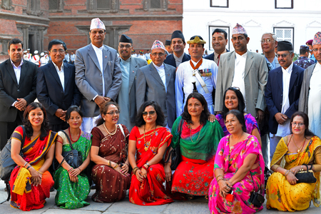 high society: KATHMANDU - OCT 11  People of the Nepalese high society, politicians and businessmen, gathered in the Royal Palace to celebrate the first day of the Dashain  On October 11, 2013 in Kathmandu, Nepal Editorial