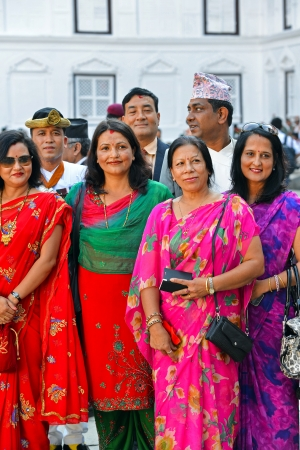 high society: KATHMANDU - OCT 11  People of the Nepalese high society, politicians and businesswomen, gathered in the Royal Palace to celebrate the first day of the Dashain  On October 11, 2013 in Kathmandu, Nepal