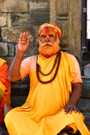 KATHMANDU - OCT 8  Sadhu at Pashupatinath in Kathmandu  Sadhus are holy men who have chosen to live an ascetic life and focus on the spiritual practice of Hinduism  On Oct 8, 2013 in Kathmandu, Nepal