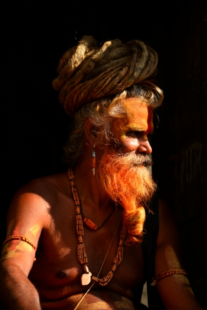 alleged: KATHMANDU - OCT 8  Sadhu at Pashupatinath in Kathmandu  Sadhus are holy men who have chosen to live an ascetic life and focus on the spiritual practice of Hinduism  On Oct 8, 2013 in Kathmandu, Nepal