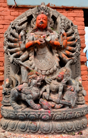 Stone relief, sculpture of Shiva the destroyer in Patan s Durbar square  Kathmandu, Nepal