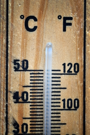 Wooden thermometer scale photo