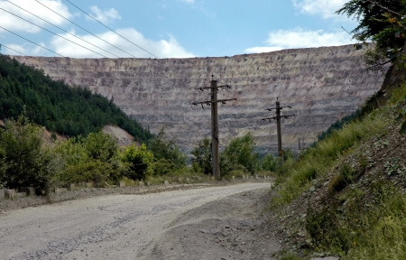 open pit: Open pit gold mining in Rosia Montana, Romania Stock Photo