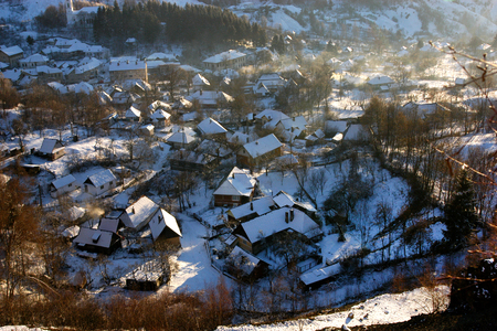 Rosia Montana village at wintertime  Romania photo