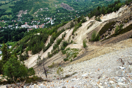 Controversial gold mine open pit excavation, Rosia Montana, Romania photo