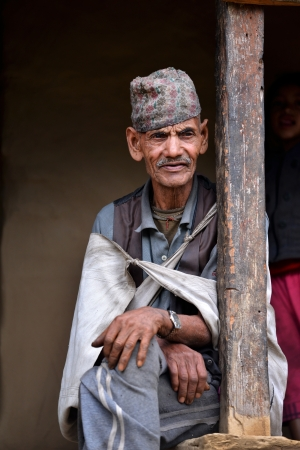 expeditions: GHANDRUK - OCT 6  Portrait of an old Gurung Sherpa  Gurungs are the biggest ethnic group in the Himalaya and a part of them working as Sherpas for climbing expeditions  Oct 6, 2013 in Ghandruk, Nepal