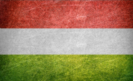anthem: Hungary flag on a grunge postcard