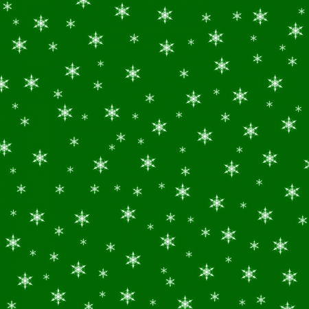 Christmas green background with snowflakes, space for text photo
