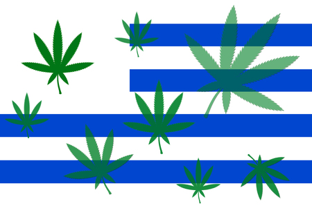 legalize: Flag of Uruguay with cannabis leaf  Uruguay becomes first country to legalize marijuana trade