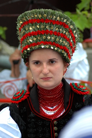 SIC, ROMANIA - CIRCA JUNE, 2004  Celebration of a traditional Hungarian wedding in traditional clothes at the Sic Village Festival Days, at June, 2004, in Sic  Szek , Romania