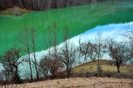 Contaminated lake water  Geamana, Rosia Montana, Romania photo