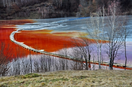 taint: Natural disaster  Pollution of a lake with contaminated water from a gold mine