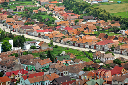 Transylvanian traditional village, Romania  A view from Rasnov castle photo