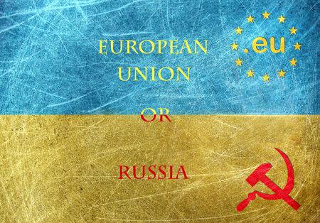 insurrection: European Union flag against Russia flag on the grunge flag of Ukraine  Stock Photo