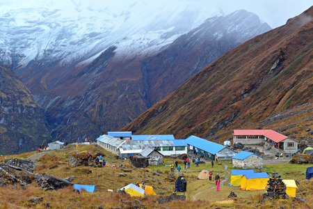 expeditions: ANNAPURNA - OCT 3  Annapurna climbing expeditions forced to stay in the ABC, without any possibilities to reach the summit, due to bad weather  On Oct 8, 2013 in Annapurna Base Camp, Himalayas, Nepal  Editorial