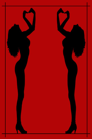 Silhouette of a nude woman poster on red photo