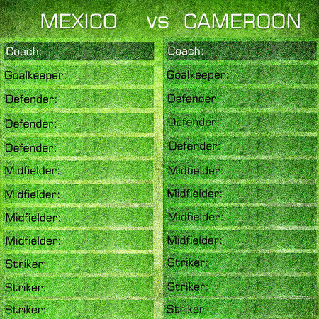 Green soccer background with space for the team list photo