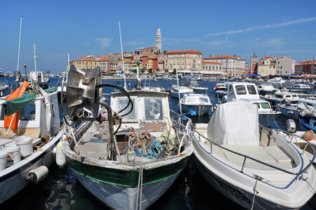 ROVINJ, CROATIA - JULY 30  The harbour of the beautiful town of Rovinj, on JULY 30, 2012 in Istria, Croatia  Rovinj is the pearl of the famous Istria peninsula in Croatia