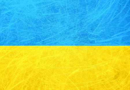 A grunge flag of Ukraine  Blue and yellow horizontal lines photo