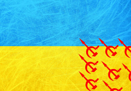 Flag of Ukraine with Russian airplanes symbolizing the occupation of Crimea Stock Photo