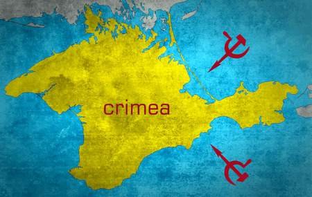 The map of Crimea with the Russian expansion and occupation photo